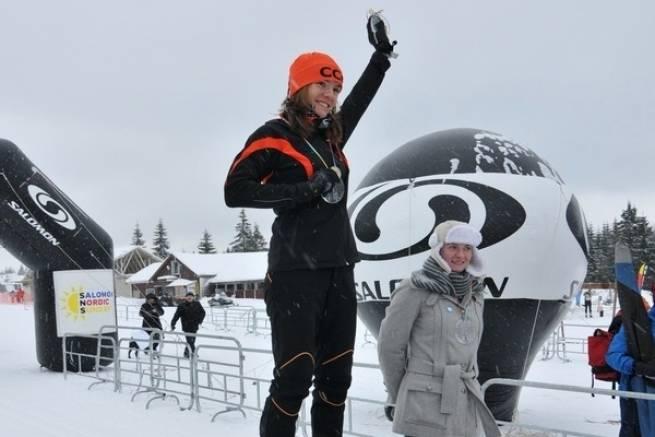 Maja Włoszczowska na najwyższym stopniu podium Biegu Tysiąclecia (zaliczanego do klasyfikacji Salomon Nordic Sunday) - styczeń 2012