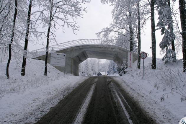 Przyjeżdżających na Jamrozową Polanę wita charakterystyczny mostek.