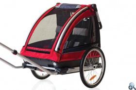 Wózek może być wykorzystywany jako przyczepka rowerowa.