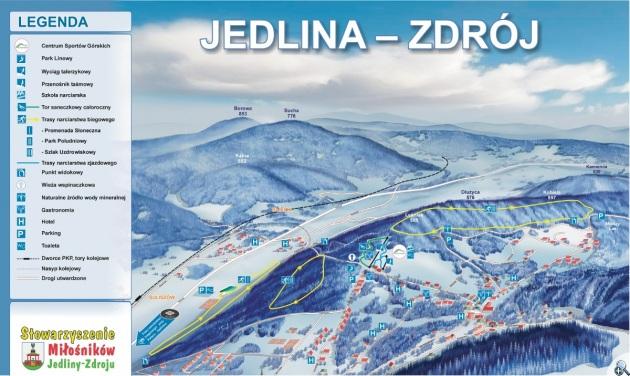 Mapa narciarskich tras biegowych w Jedlinie Zdroju