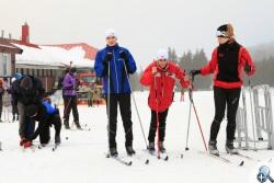 Niewidomi zawodnicy podczas treningu w Jakuszycach
